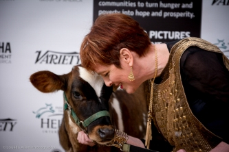 Jacqueline Zimowski, Executive Director of Slavery Today schmoozes with the cow.