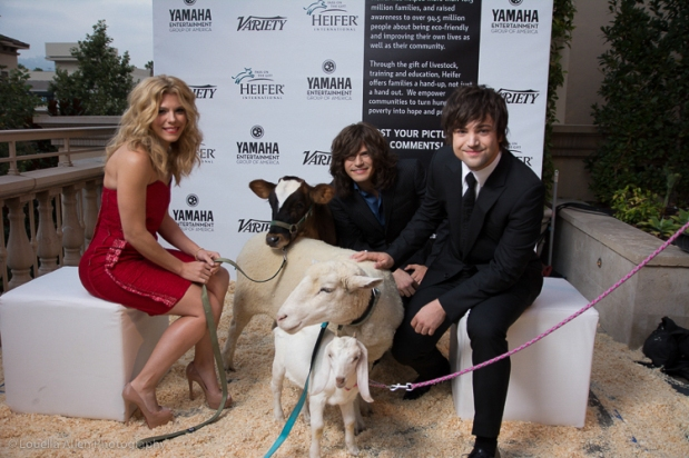 The Band Perry with Heifer's band of barn animals.